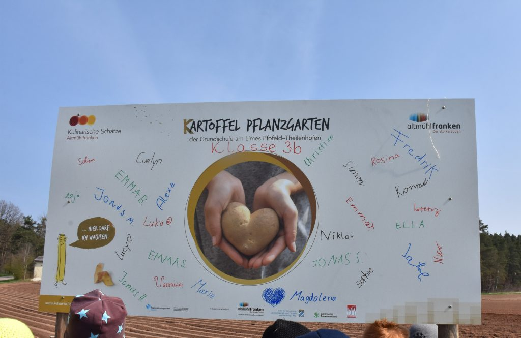 """Die Klasse 3b der Grundschule am Limes Pfofeld-Theilenhofen legte einen """"Kartoffel-Pflanzgarten"""" an."""